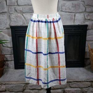 Vintage EccoBay plaid primary color midi skirt L
